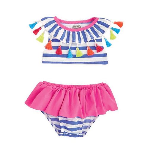 Striped Tassel Two-Piece Swimsuit