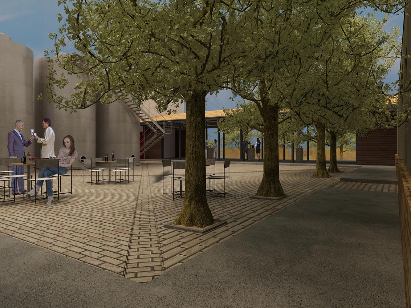 Kechirs winery's internal courtyard