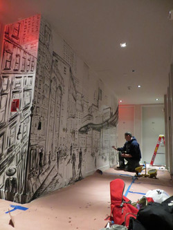 Piero Manrique Painting Mural at the Gotham Hotel NYC