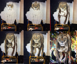 Progress on Lion Mural by Manrique