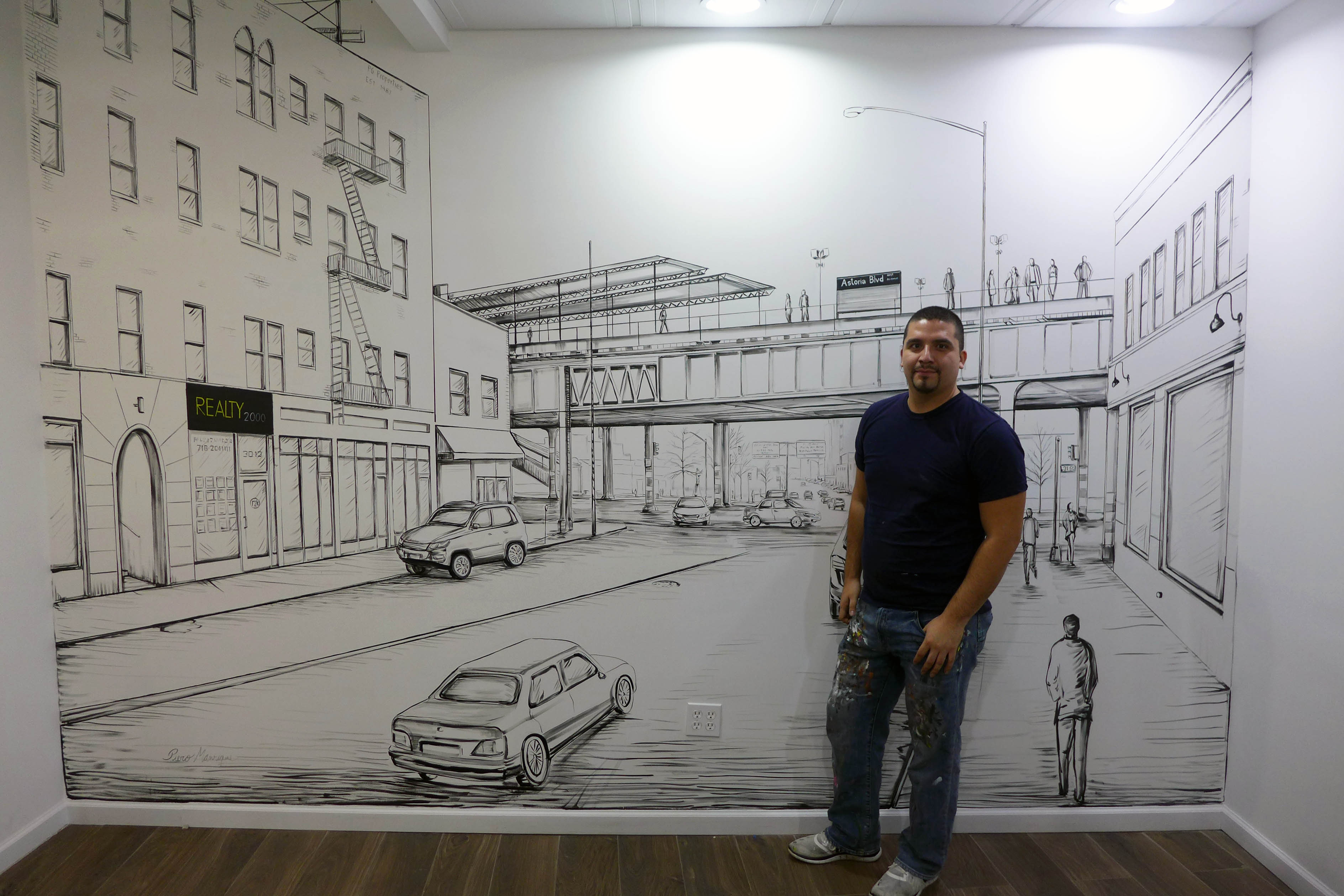 NY Muralist Manrique with NYC mural