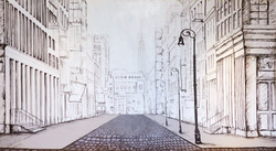 MMAD's NYC Street Scene Mural for Justin Alexander Bridal