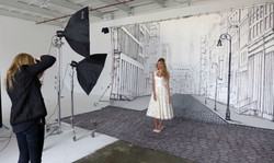 Photo Shoot in front of MMAD's NYC Street Scene Mural