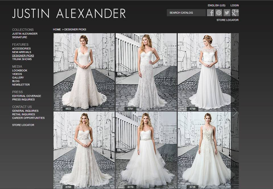 Justin Alexander Bridal website