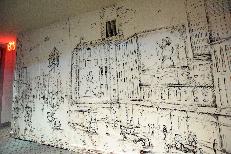 Gotham Hotel wall mural by MMAD