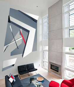 Two-Story Abstract Art Mural by MMAD