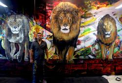 Piero Manrique with His NJ Mural
