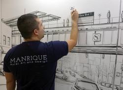 Astoria Wall Mural in Progress