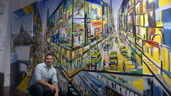Piero Manrique with NYC Street Mural