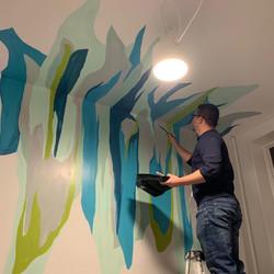 Piero Manrique painting dining room blue