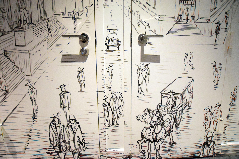 Detail of door with handles
