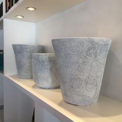 Floral textured pots