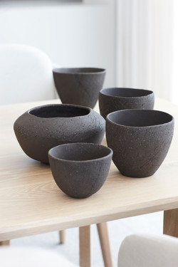 Black decor pots