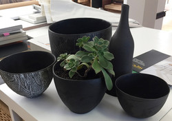 Black vessels & planter