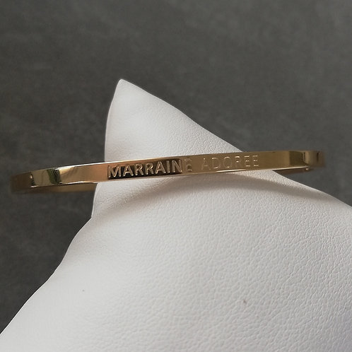 """Bracelet acier """"Marraine adorée"""" doré"""