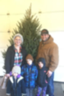 Aeschbach Family with Christmas Tree