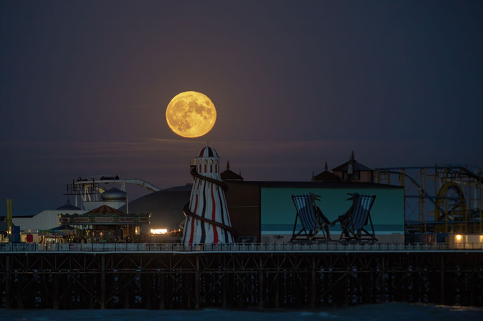 Full Moon over Brighton Pier