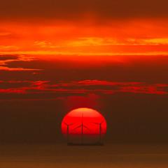 Sunset over the Rampion wind farm