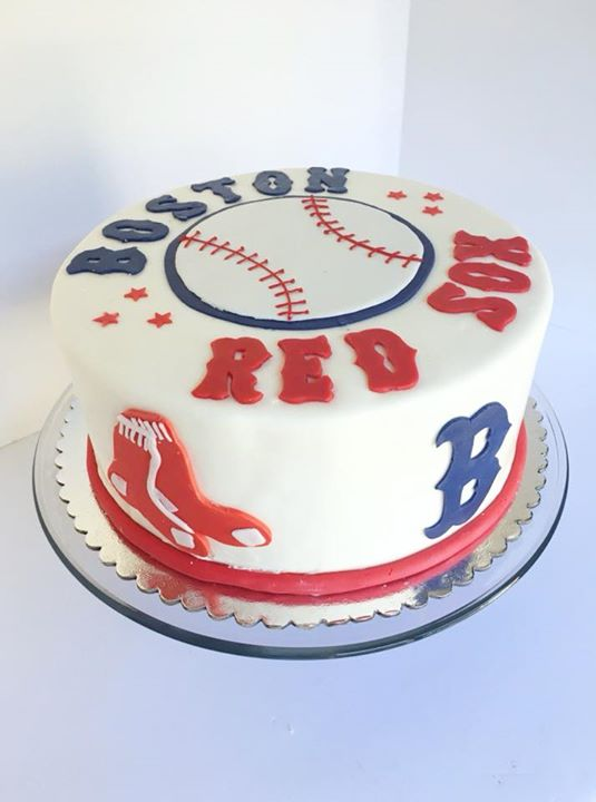Boston Red Sox on the outside, Dodgers Blue on the inside! Blue Velvet cake yummmm!
