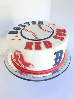 Boston Red Sox on the outside, Dodgers Blue on the inside! Blue Velvet cake yummmm!