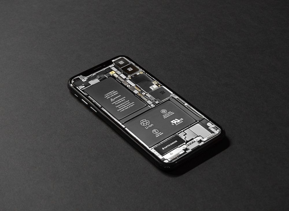 Internal View of the iPhone X Battery and Motherboard