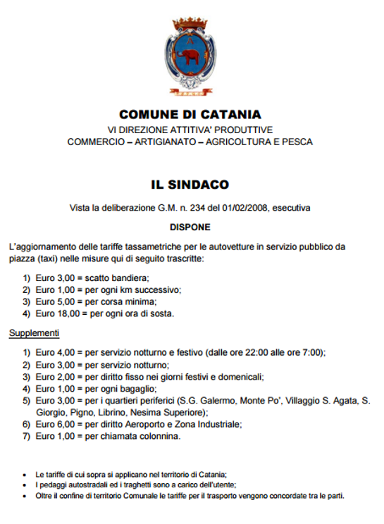 tariffe applicate da radio taxi catania 095 6188