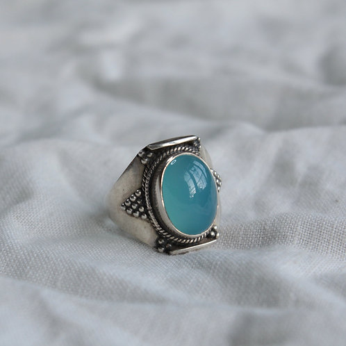 Mens Chalcedony sterling silver ring