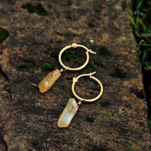 Yellow Aura quartz earrings