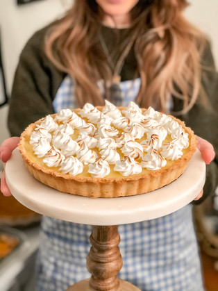Shake up your dessert table this holiday season: tarte au citron with meringue