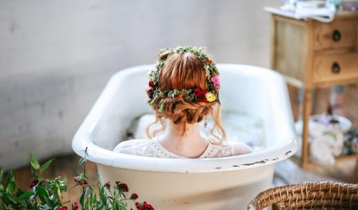 styled  milk bath  maternity  red head  flower crown