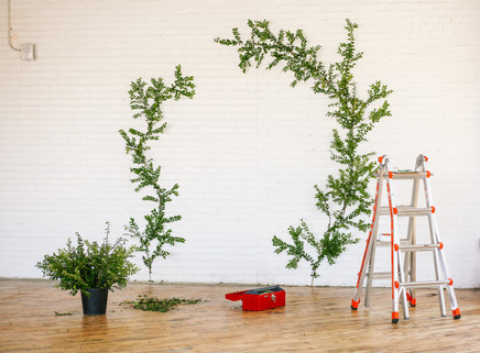 floral garland wall greenery back drop arch set style ladder tools bucket florist