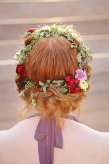 red hair up do flower crown natural pink purple greenery