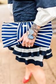 nautical blue and white kate spade bracelets  jewelry fashion druzy chain  stripes rachel mulherin shoptini howard county md ellicott city maryland fashion photography blogger