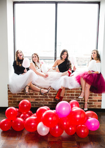 balloons tulle skirts cotton candy valentines girl bloggers galentines red pink white black