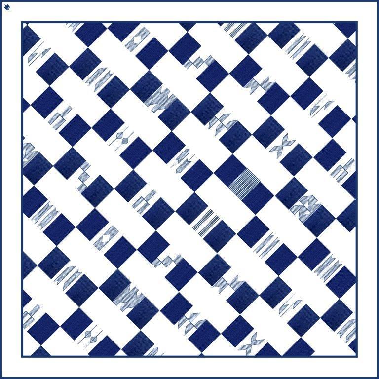 Voyage Blue 90cm square scarf