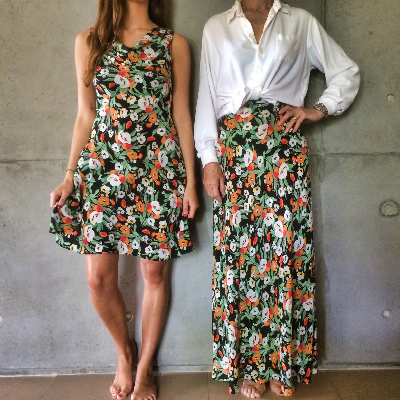 Sunny cowl & swirl skirt