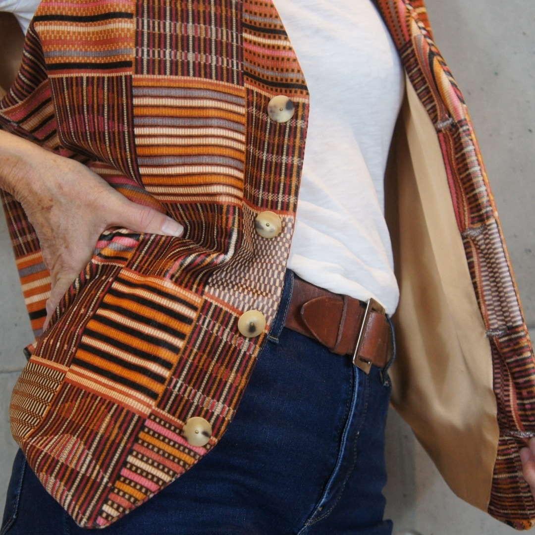 Afro tartan velvet men's waistcoat