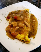 Denver Omelet Smothered in Green Chili