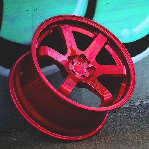 "18"" BOLA B1 CANDY RED ALLOY WHEELS 5X100 AUDI TT"