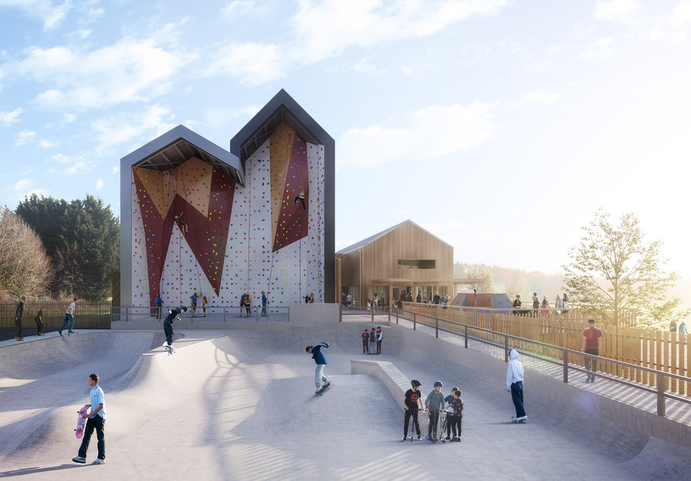 Hero View Featuring Outdoor Climbing Wall, Cafe Building and Terrace.