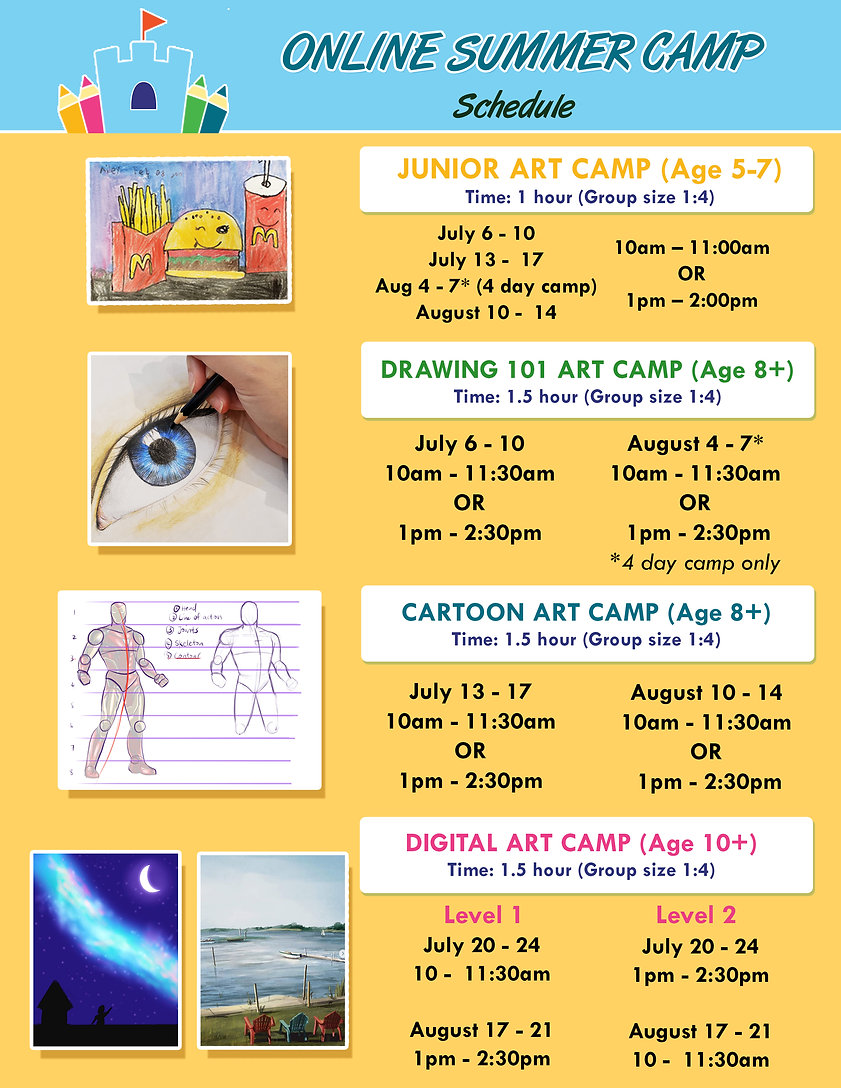 Online Summer Camp flyer schedules and t