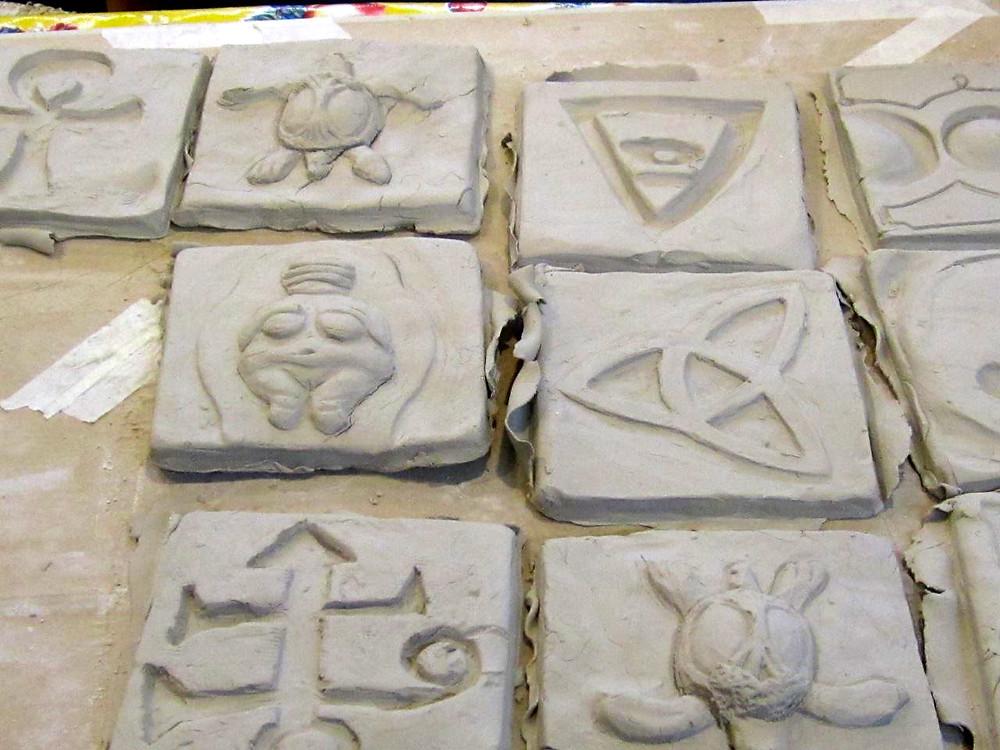 Tiles made by youth artists
