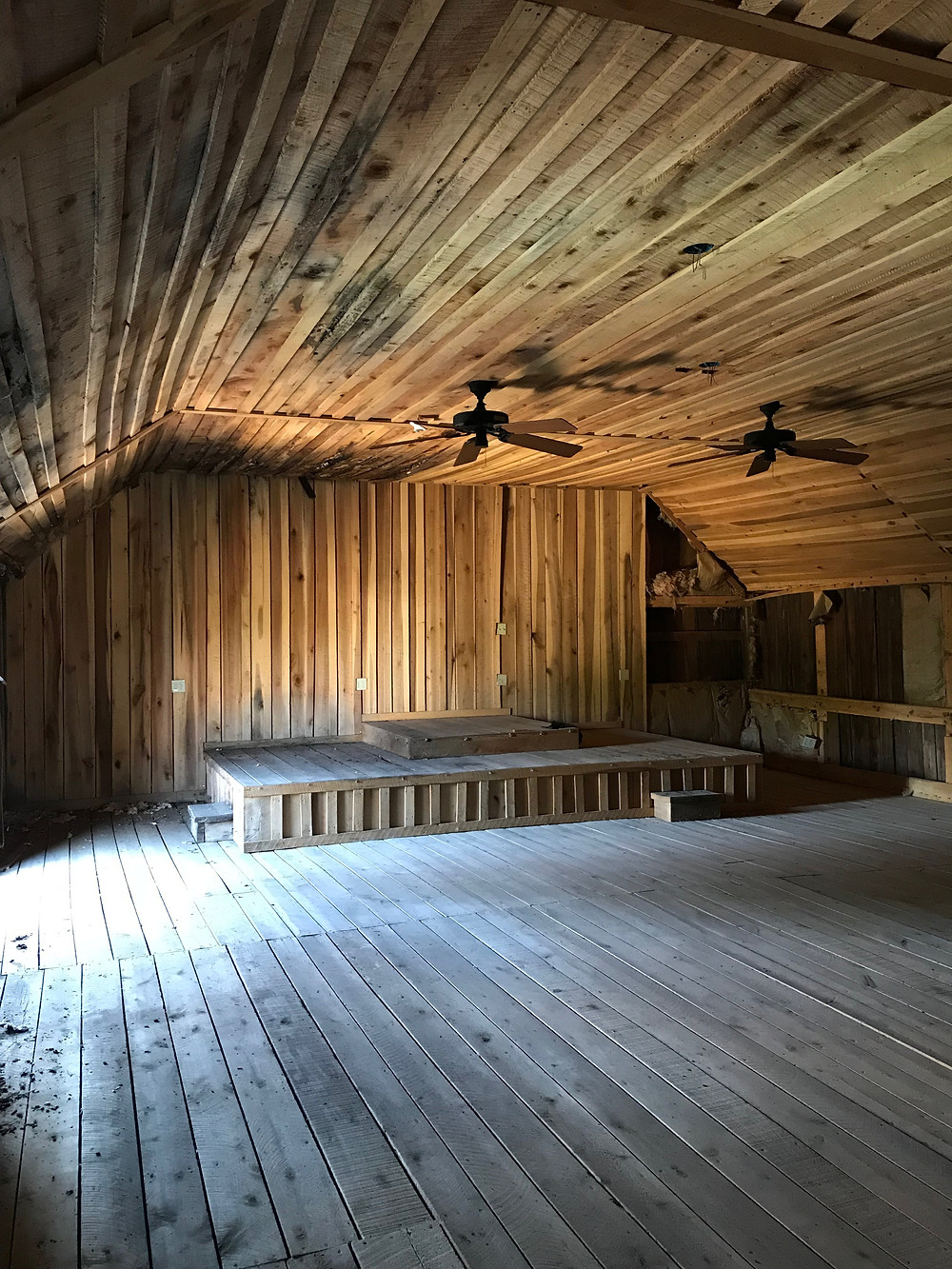 Upstairs in the barn, ready for restoration for use as a worship center.
