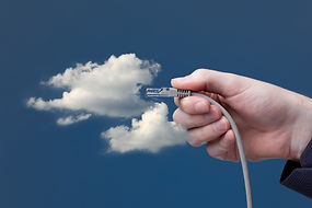 Cloud computing concept. Hand with ether