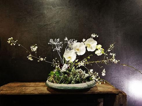 composition florale originale ikebana, orchidée,