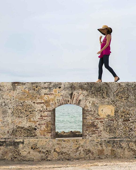 Kimiko balancing on wall