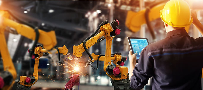 Engineer check and control welding robot