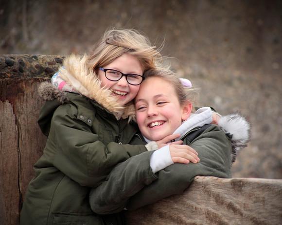 Girls on Hornsea beach