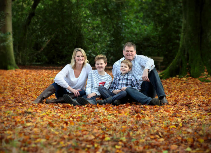 Family potrait in autumnal wood