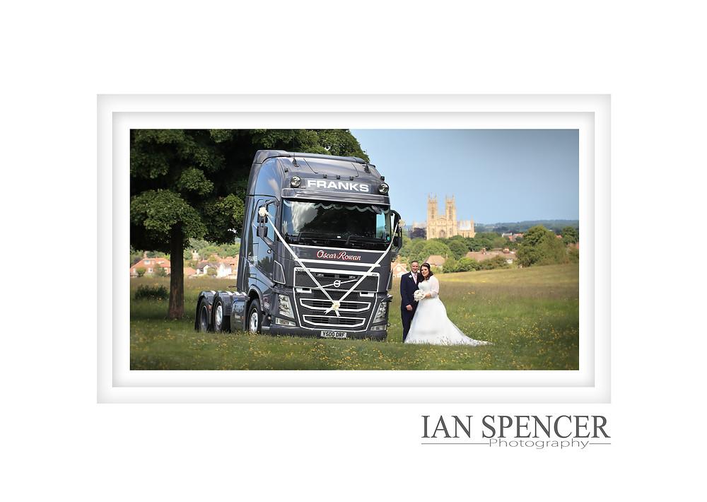 Beautiful wedding in Beverley  at Beverley registry office wedding in East Yorkshire. This wedding Photo was taken on Beverley Westwood by professional wedding photographer Ian Spencer of Hessle, Hull.